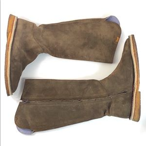 Camper Brown Suede Leather Knee High Boots